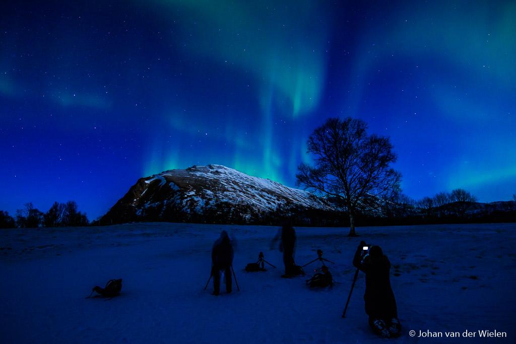 Noorderlicht fotograferen op Vesterålen, op loopafstand van onze accommodatie.
