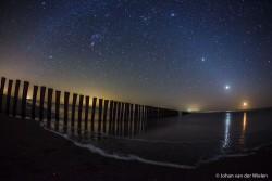 Zelfs op de donkerste plekken in Nederland - de Wadden - heb je nog last van lichtvervuiling van de wal!