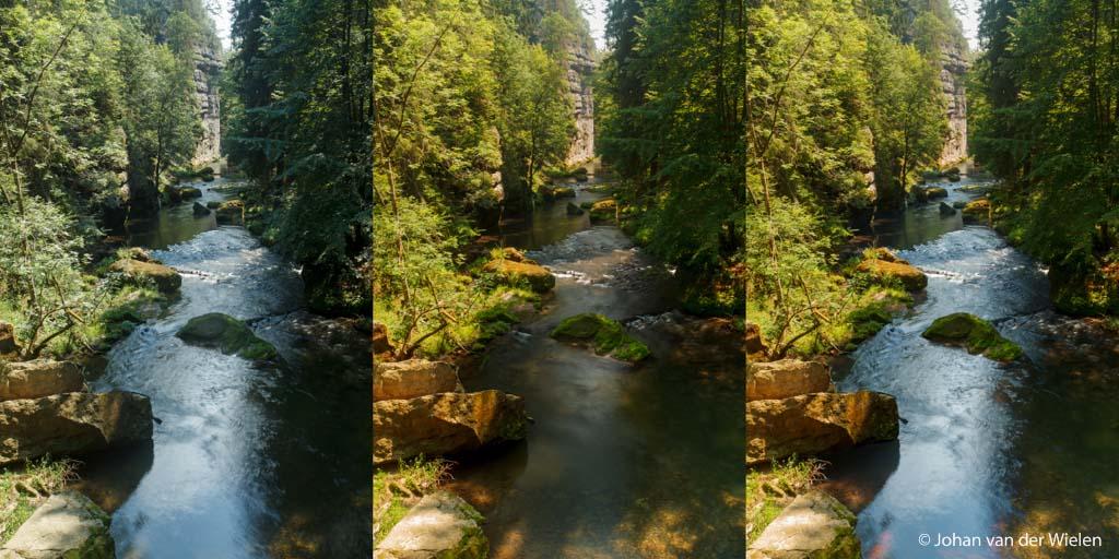 Soms kan het gewoon niet: links zonder CPL filter, in het midden de filter gebruikt maar nu geen mooi water meer daarom (rechts) samengevoegd met photoshop.