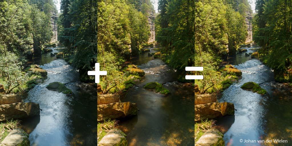 Op de linkerfoto is het water mooi terwijl op de middelste de kleur van de bomen diep en warm is. Omdat beide niet mogelijk was is samenvoegen in de nabewerking de enige mogelijkheid