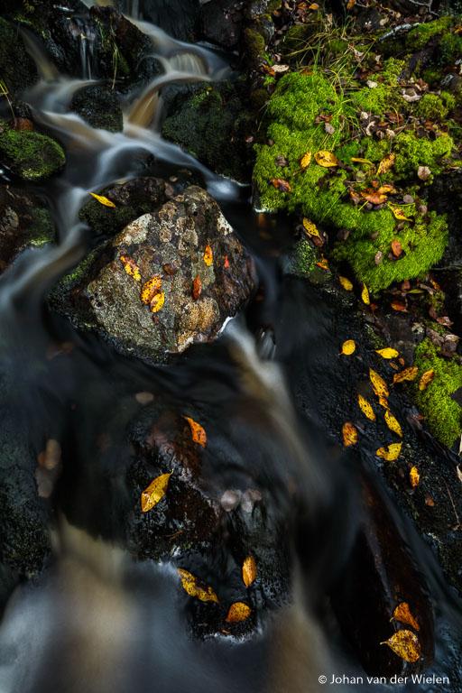 Lange sluitertijden met water en herfstkleuren