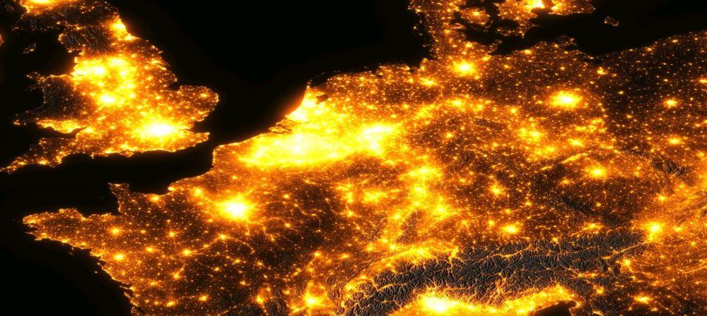 Lichtvervuiling Europa in kaart gebracht... waar ligt Nederland? bron: Nacht van de Nacht