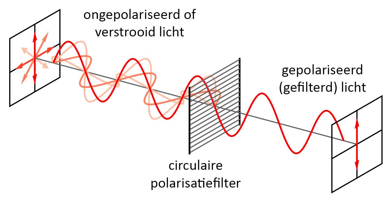 Werking van de polarisatiefilter: gepolariseerd licht wordt doorgelaten, verstrooid licht wordt tegengehouden