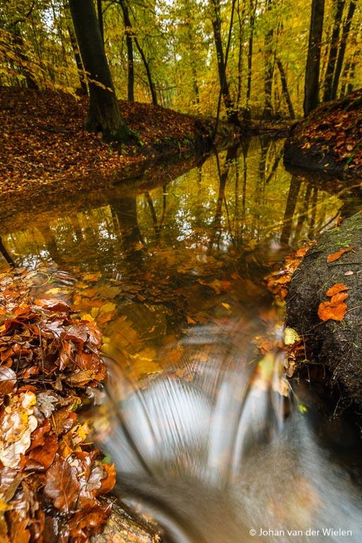 Het kleine stuk van de stroomversnelling met lange sluitertijd (2,5 seconden), het water veegt uit, het detail verdwijnt uit het stroompje en je voelt als het ware de dynamiek van het bewegende water