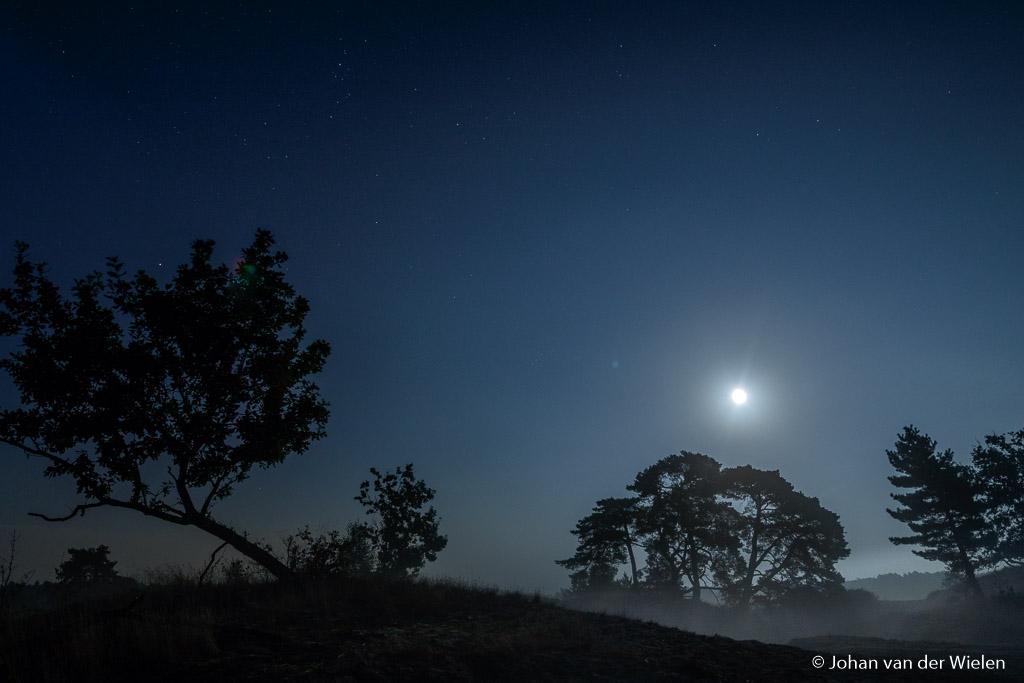Mee in de nacht, opkomende mist met volle maan