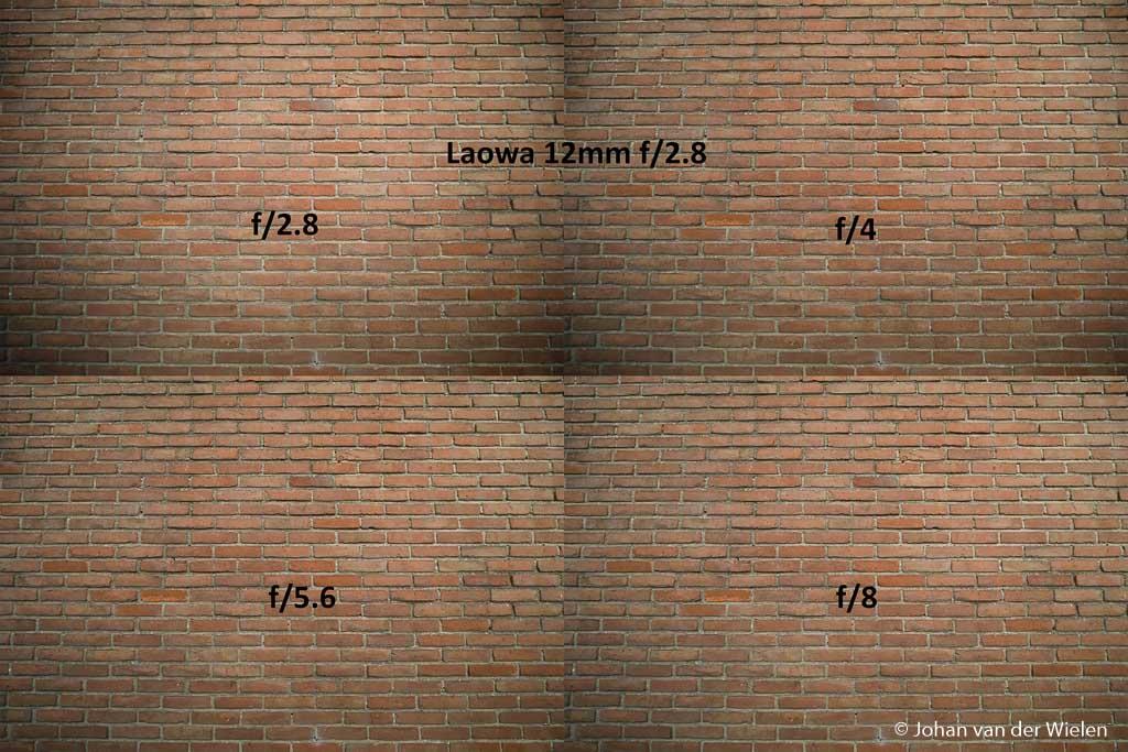 Hoewel minder dan bij de concurrenten is de Laowa 12mm niet vignetteringsvrij