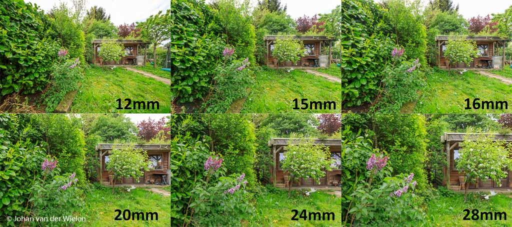Op 12mm lijk ik een tuin van wel 50m diep te hebben terwijl de afstand tussen bloeiende sering en blokhut in werkelijkheid maar een meter of 4 is.