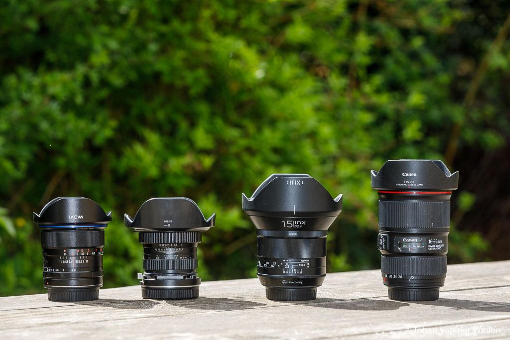 Van klein naar groot of juist van groot(hoek) naar klein(hoek): de Laowa 12mm f/2.8, Laowa 15mm macro f/4, Irix 15mm f/2.4 blackstone en de Canon 16-35 f/4L IS USM.