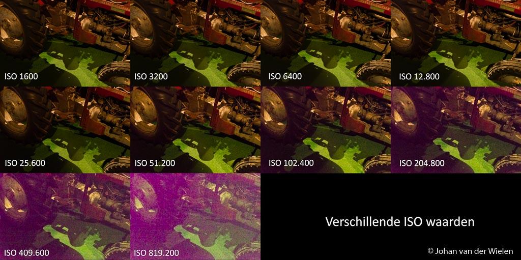 verschillende ISO waarden, vanaf ISO 102.400 komt er een roze zweem in het beeld.