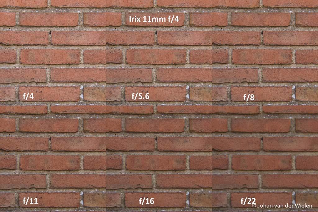 Centrum scherpte Irix 11mm bij verschillende diafragma waarden.