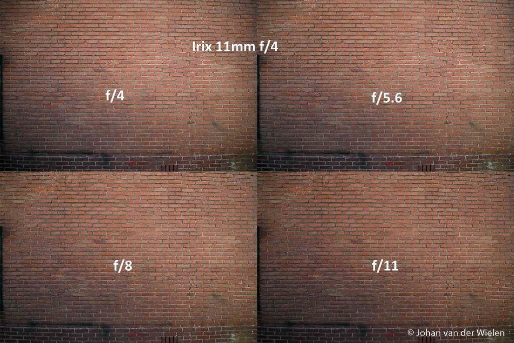 Vignettering Irix 11mm bij verschillende diafragma waarden.
