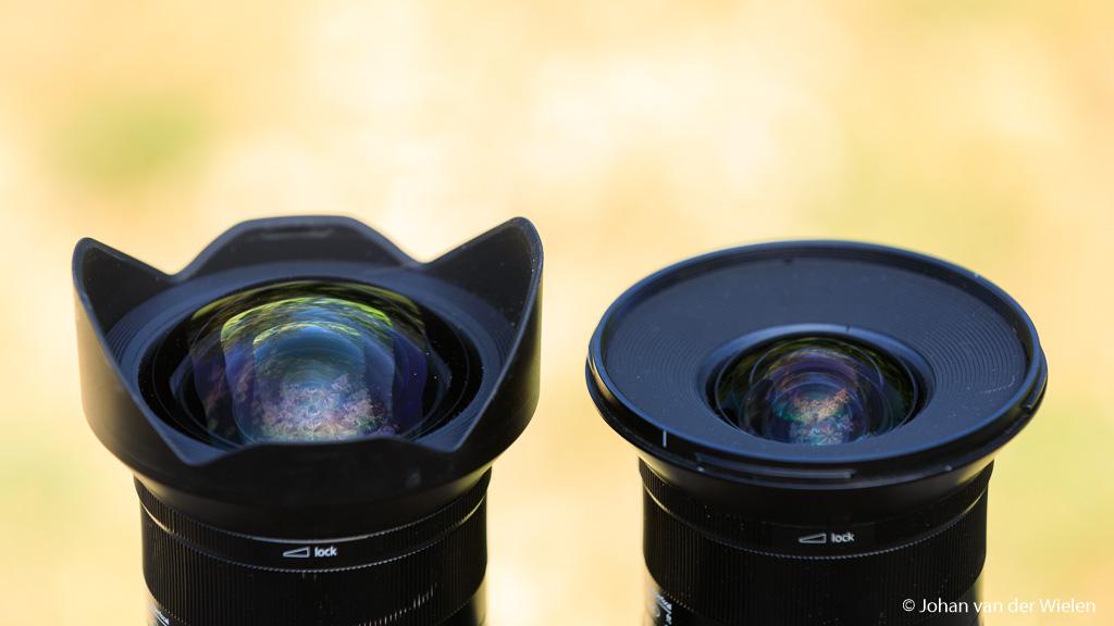 Verschil van frontelementen bij de 11mm en 15mm - de 11mm is bol met ingebouwde zonnekap, geen filters mogelijk en de 15mm heeft een filtermaat van 95mm