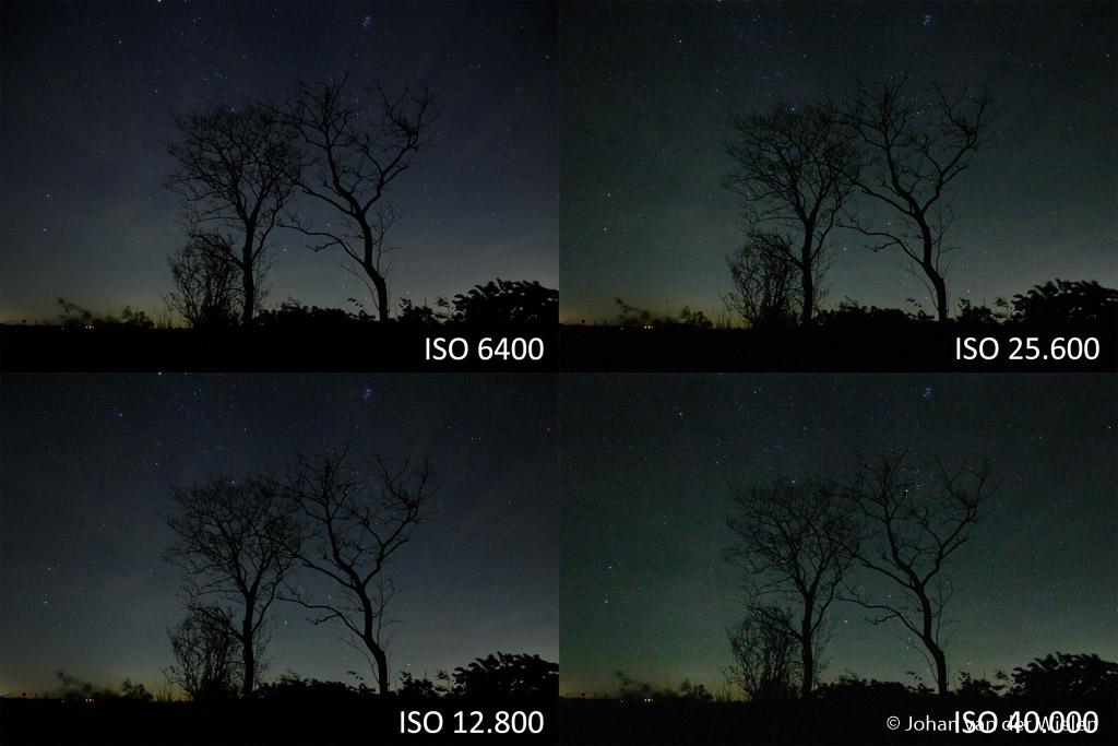 Nachtbeelden bij hoge ISO, opvallend is de kleurverandering vanaf ISO 25.600.