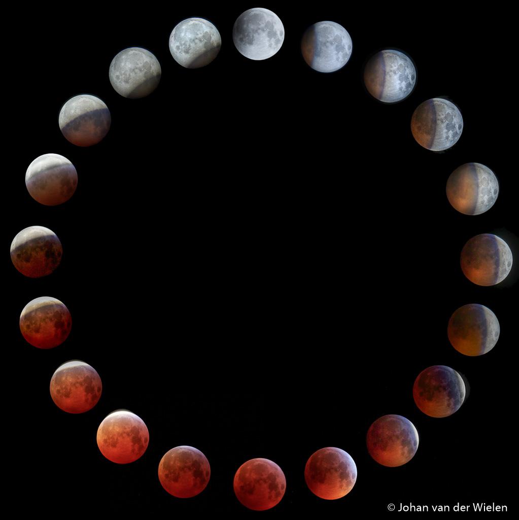 Alle fasen van de maansverduistering, geschoten in HDR.