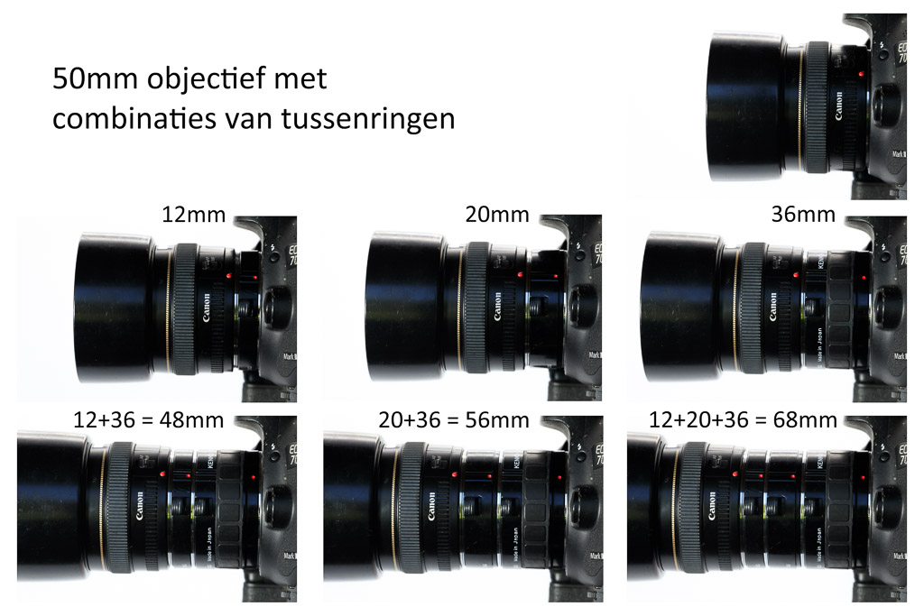 tussenringen in diverse combinaties gemonteerd tussen body en 50mm lens.