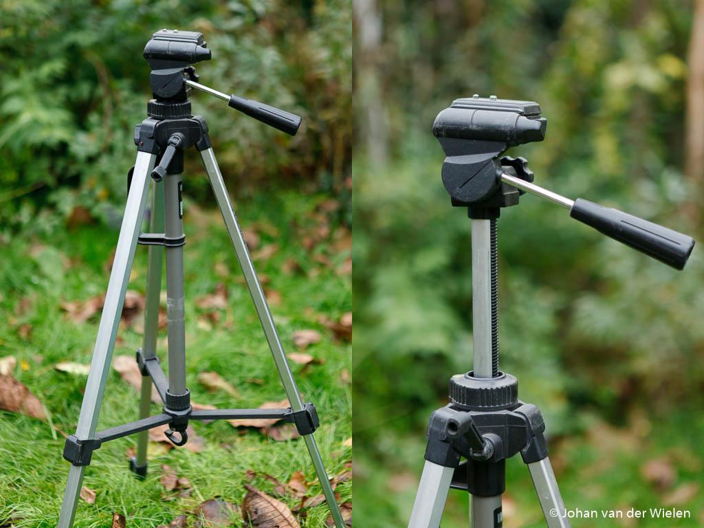 zwak wiebel statief, bedoeld voor hele kleine camera's, met uitschuif middenpoot, maakt hem nog wiebeliger!
