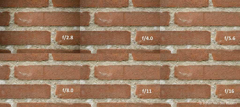 Als je goed kijkt zie je dat de foto op f/2.8 inderdaad wat donkerdere hoeken heeft. Vanaf f/5.6 is het weg maar op f/4.0 is het al nauwelijks meer zichtbaar.