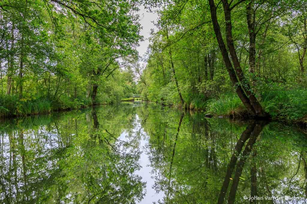 Als je de eerste bent in de vaart ligt het water zo mooi stil dat je wel aan de slag moet met reflecties.