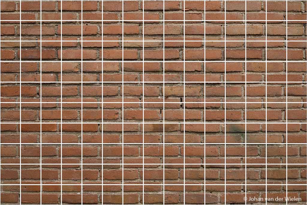 Een grid van lijnen over de muurfoto gelegd om te kijken naar vervorming.