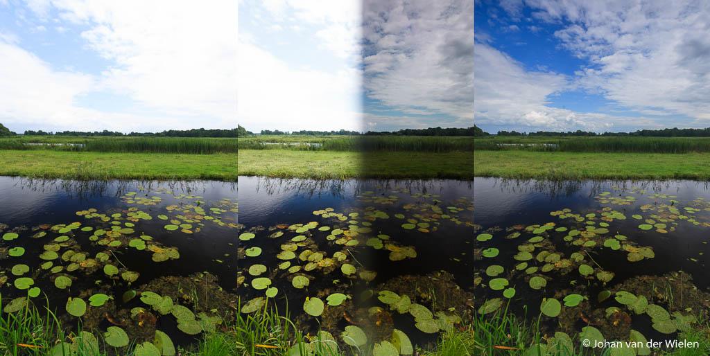 Links het beeld zonder filter, midden (niet de bedoeling eigenlijk!) de filter er half voor gehouden en rechts het resultaat met een 2 stops grijsverloop filter.