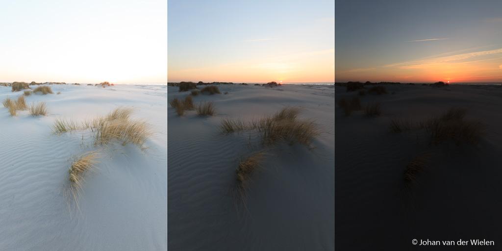 Drie verschillende belichtingen: links voor de voorgrond (erg licht), rechts voor de zon (erg donker), midden de gulden middenweg.