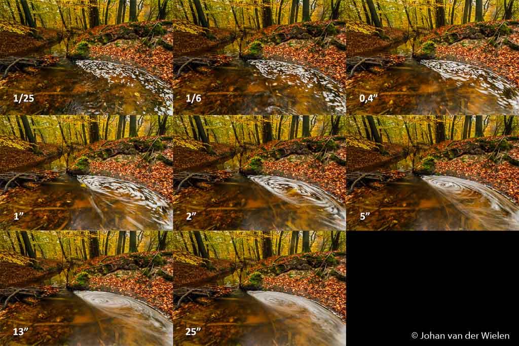"""Een 'watervalletje' met schuim in de Leuvenemse beek, gefotografeerd met verschillende sluitertijden. Uiteindelijk vond ikzelf 2"""" het mooiste, wat vind jij?"""