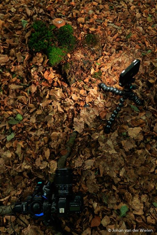 Opstelling met camera op statief en Godox LED panel op de gorillapod.
