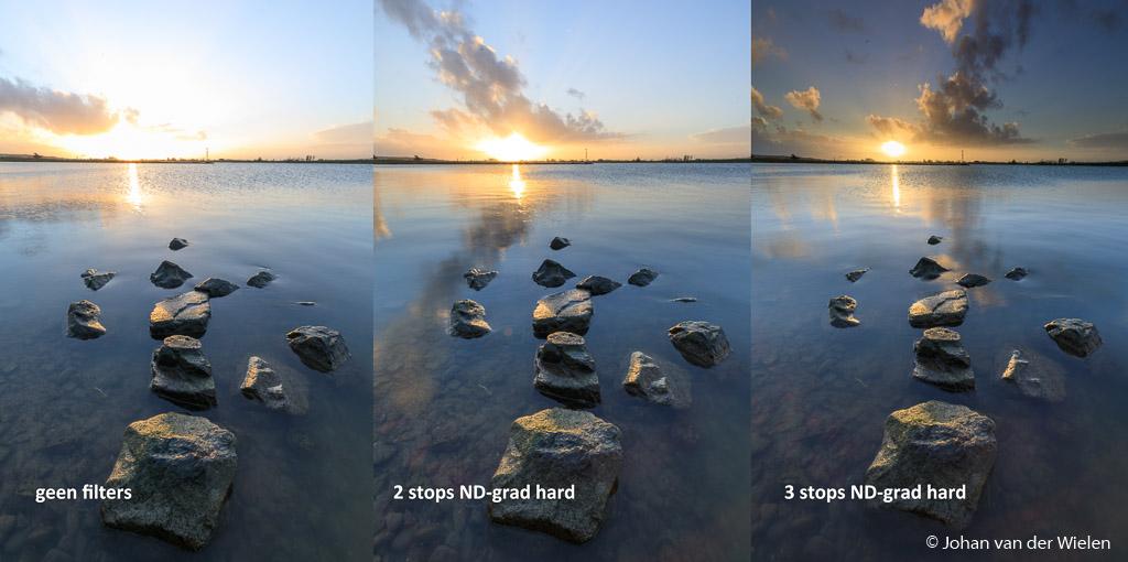 Foto's zonder en met filters (2 en 3 stops)