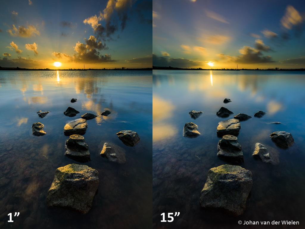 """Zonsopkomst aan de Rijn. Links met alleen polarisatie- en grijsverloopfilter (ISO100, f/11, 1""""), rechts met nog extra een 4 stops ND16 filter op 30""""."""