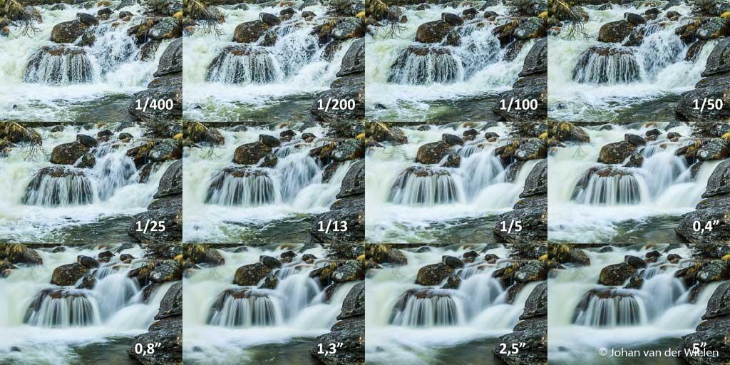 Een waterval bij Noordkaap gefotografeerd bij verschillende sluitertijden. Welke dynamiek uiteindelijk het mooiste is, is heel persoonlijk.