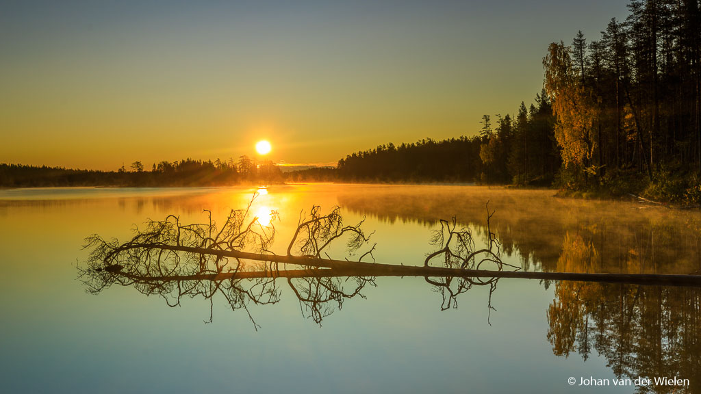 Zonsopkomst in herfstig Finland: 2 grijsverloopfilters gebruikt