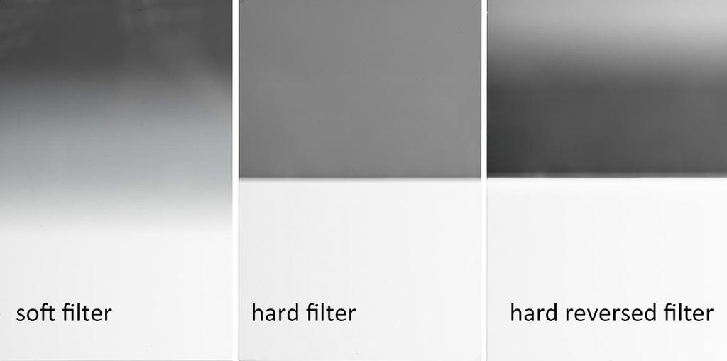 verschillende grijsverloopfilters