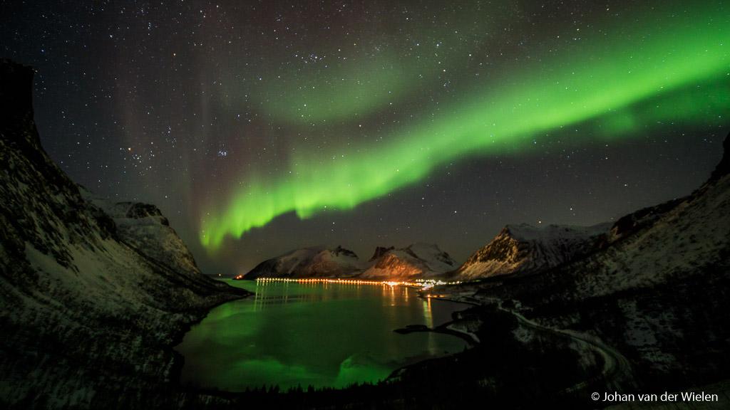 Noorderlicht in Noorwegen, zonder filter. Witbalans op 4000K.