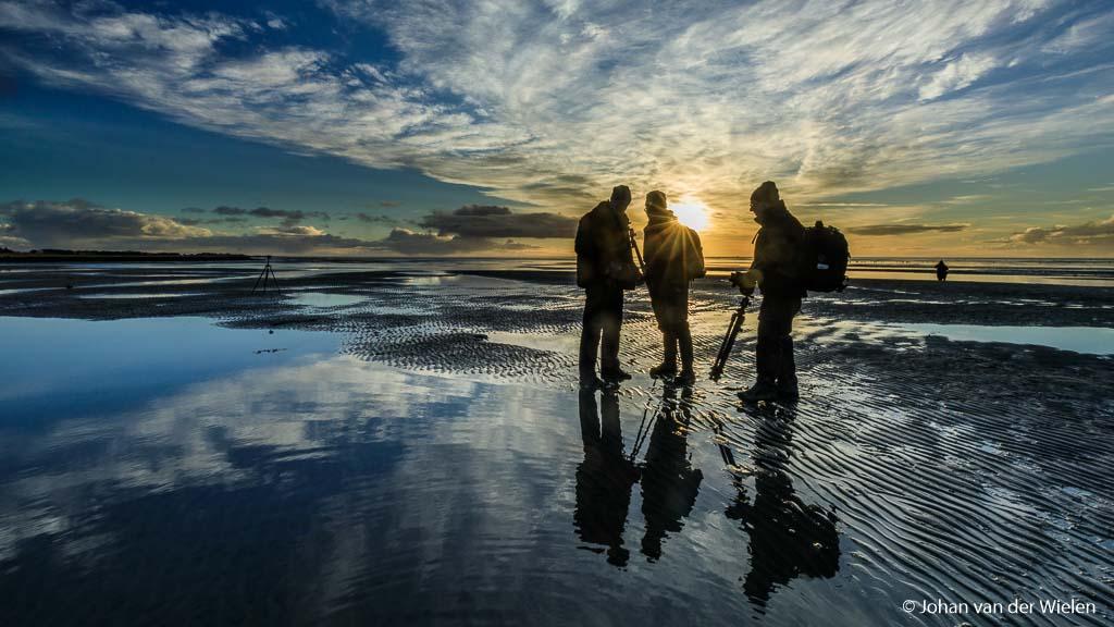 Zonsopkomst op het wad, spectaculaire ochtenden op winters Terschelling.